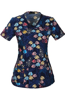 Cherokee Women's V-Neck Fish Print Scrub Top