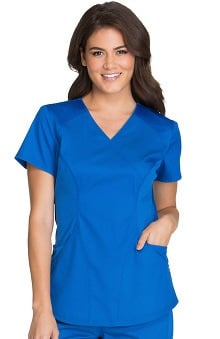 Luxe Sport by Cherokee Women's Mock Wrap Solid Scrub Top