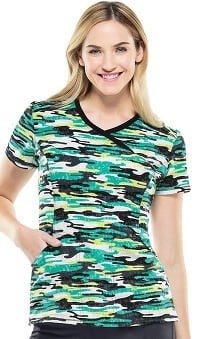 Infinity by Cherokee With Certainty Antimicrobial Fabric Technology Women's Mock Wrap Camo Print Scrub Top