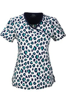 Clearance Cherokee with Antimicrobial Certainty Women's Mock Wrap Animal Print Scrub Top