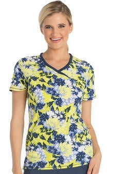 Infinity by Cherokee Women's Mock Wrap Floral Print Scrub Top