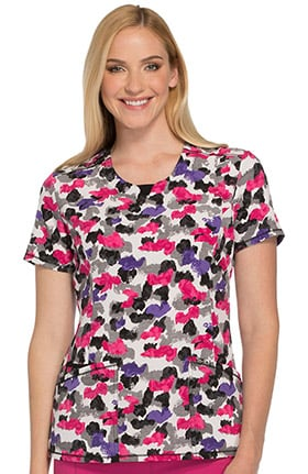 Cherokee Women's Round Neck Abstract Print Scrub Top