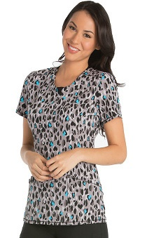 Infinity by Cherokee Women's Round Neck Animal Print Scrub Top
