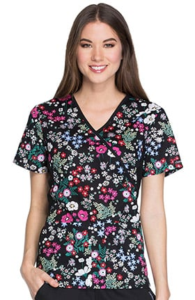 Cherokee Women's Mock Wrap Knit Panel Floral Print Scrub Top