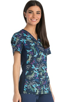 Flexibles by Cherokee Women's Mock Wrap Knit Panel Dragonfly Print Scrub Top