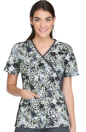 Cherokee Women's Mock Wrap Knit Panel Animal Print Scrub Top