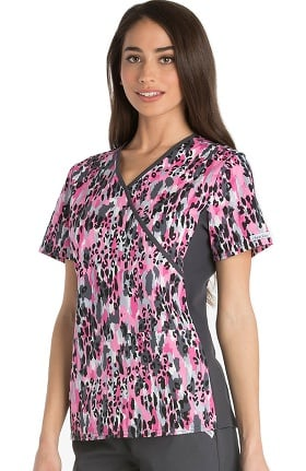 Flexibles by Cherokee Women's Mock Wrap Knit Panel Animal Print Scrub Top