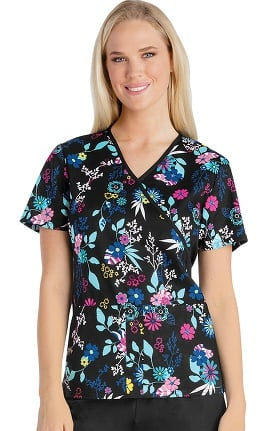 Flexibles by Cherokee Women's Mock Wrap Knit Panel Floral Print Scrub Top