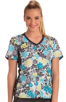 Cherokee Women's V-Neck Knit Panel Floral Print Scrub Top