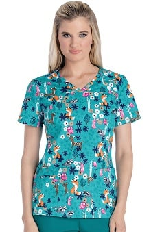 Clearance Cherokee Women's V-Neck Animal Print Scrub Top