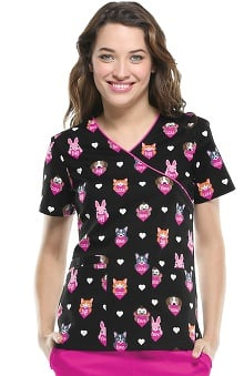 Cherokee Women's Mock Wrap Animal Heart Print Scrub Top