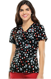 Cherokee Women's Mock Wrap Geometric Print Scrub Top