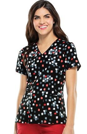 Clearance Cherokee Women's Mock Wrap Geometric Print Scrub Top