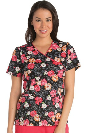 Clearance Cherokee Women's Mock Wrap Floral Print Scrub Top