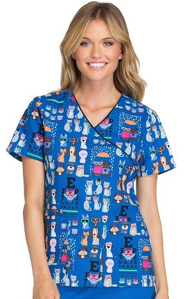 Cherokee Women's Mock Wrap Pet Print Scrub Top
