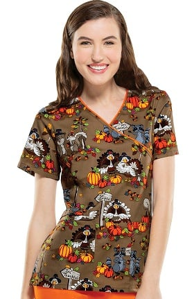 Cherokee Women's Mock Wrap Thanksgiving Print Scrub Top
