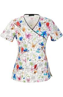 Cherokee Women's Mock Wrap Floral Print Scrub Top