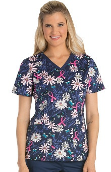 Breast Cancer Awareness by Cherokee Women's V-Neck Floral Print Scrub Top