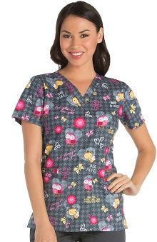 Cherokee Women's V-Neck Owl Print Scrub Top