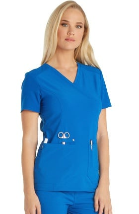 iflex™ by Cherokee Women's Mock Wrap Knit Back Panels Solid Scrub Top