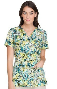 Cherokee Women's Mock Wrap Abstract Print Scrub Top