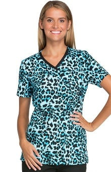 Cherokee Women's V-Neck Animal Print Scrub Top
