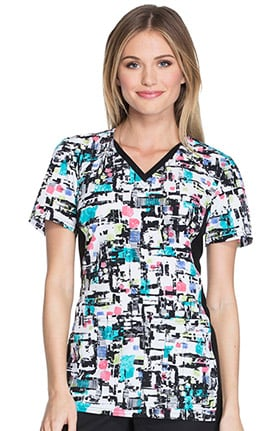 Cherokee Women's V-Neck Contrast Panel Abstract Print Scrub Top
