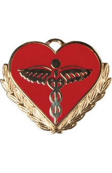 Clearance Cherokee Caducueous On Red Heart Pin
