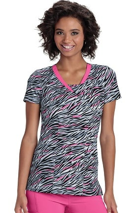 heartsoul Women's V-Neck Zebra Print Scrub Top
