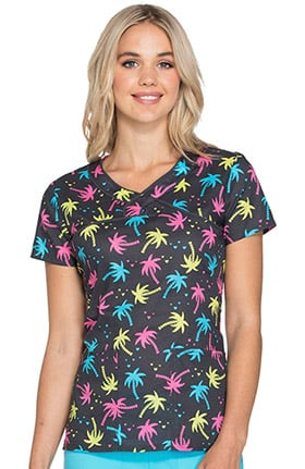 heartsoul Women's Mock Wrap Tropical Print Scrub Top