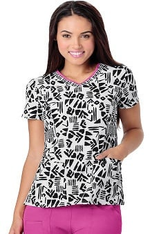 heartsoul Women's V-Neck Geometric Print Scrub Top