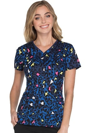 heartsoul Women's V-Neck  Animal Print Scrub Top