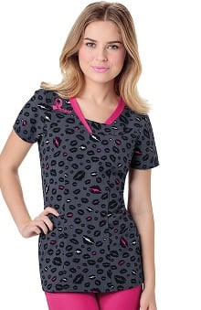 heartsoul Women's V-Neck Breast Cancer Ribbon Print Scrub Top