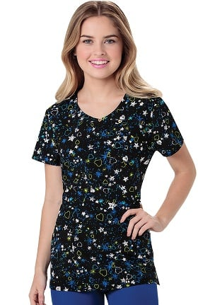 Clearance heartsoul Women's Mock Wrap Star Print Scrub Top