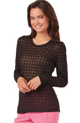 Clearance heartsoul Women's Long Sleeve Houndstooth Print Underscrub T-Shirt