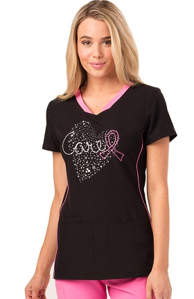 Clearance heartsoul Women's V-Neck Heart Print Scrub Top
