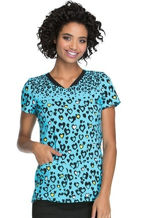 heartsoul Women's V-Neck Owl Print Scrub Top