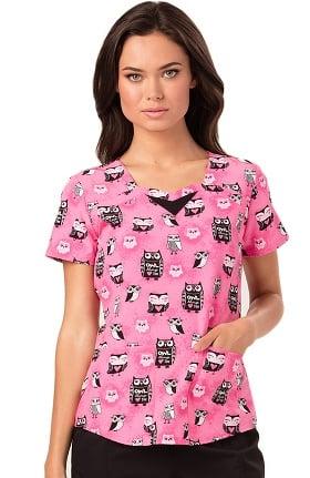 heartsoul Women's Sweetheart Neck Owl Print Scrub Top