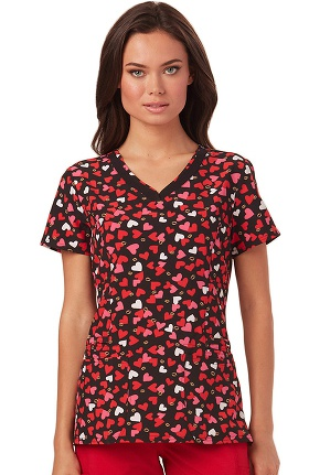heartsoul Women's V-Neck Heart Print Scrub Top
