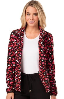 heartsoul Women's Heart Print Warm-Up Scrub Jacket