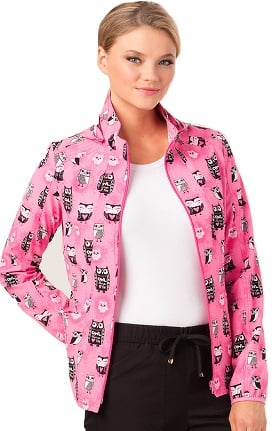 heartsoul Women's Owl Print Warm-Up Scrub Jacket