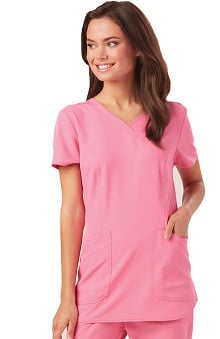 Break On Through by heartsoul Women's Mock Wrap Solid Scrub Top