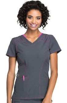 Break On Through by heartsoul Women's V-Neck BCA Print Scrub Top