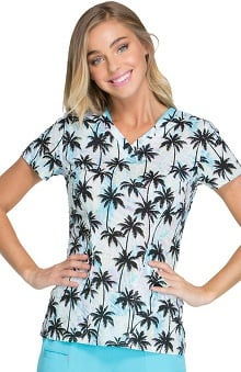 heartsoul Women's Sweetheart V-Neck Tropical Print Scrub Top