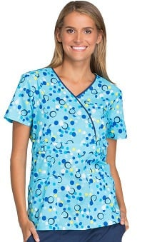 Runway by Cherokee Women's Mock Wrap Dot Print Scrub Top