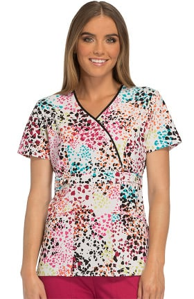 Runway by Cherokee Women's Mock Wrap Heart Print Scrub Top