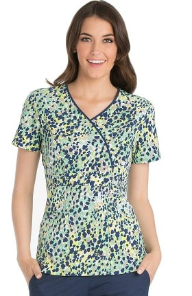 Clearance Runway by Cherokee Women's Mock Wrap Geometric Print Scrub Top