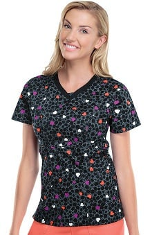 Runway by Cherokee Women's V-Neck Heart Print Scrub Top
