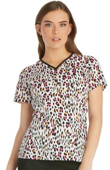 Runway by Cherokee Women's V-Neck Animal Print Scrub Top