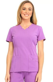 Sapphire Scrubs™ with Certainty Antimicrobial Fabric Technology Women's Madison Mock Wrap Solid Scrub Top